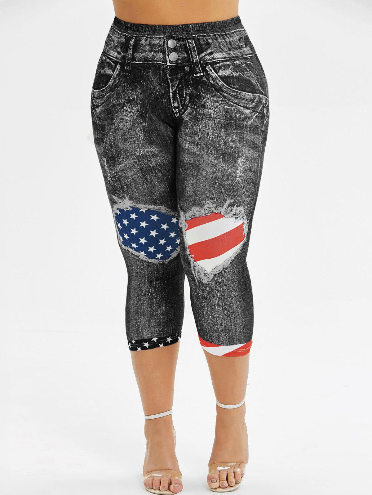 American Flag 3D Printed Skinny Capri Plus Size Jeggings - BLACK 1X