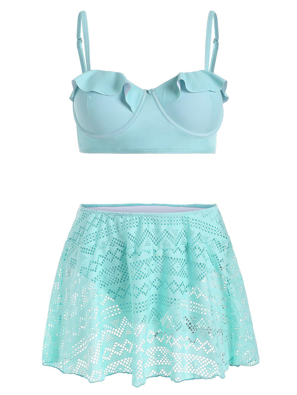 Ruffles Underwire Skirted Bikini Swimsuit - LIGHT AQUAMARINE L