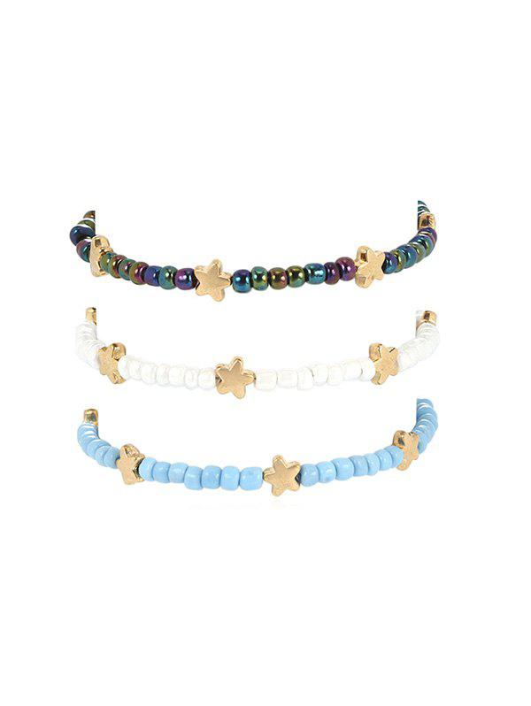 Three-piece Beaded Star Anklet Set - multicolor