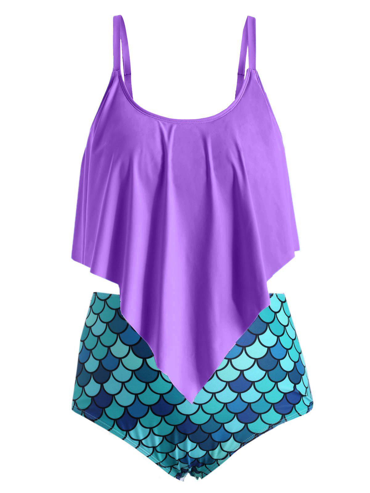 Plus Size Ruffle Fish Scale Print Tankini Swimsuit - PURPLE AMETHYST 1X