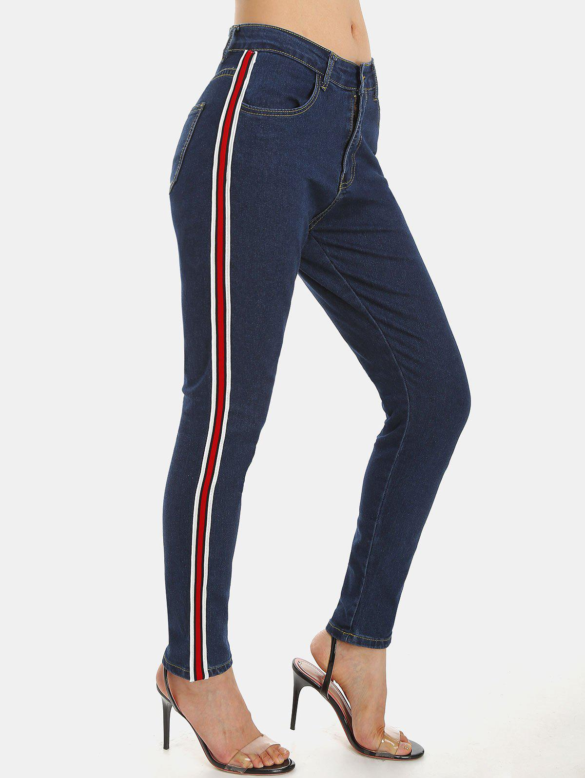 Striped Side Zipper Fly Pocket Jeans - DENIM DARK BLUE L