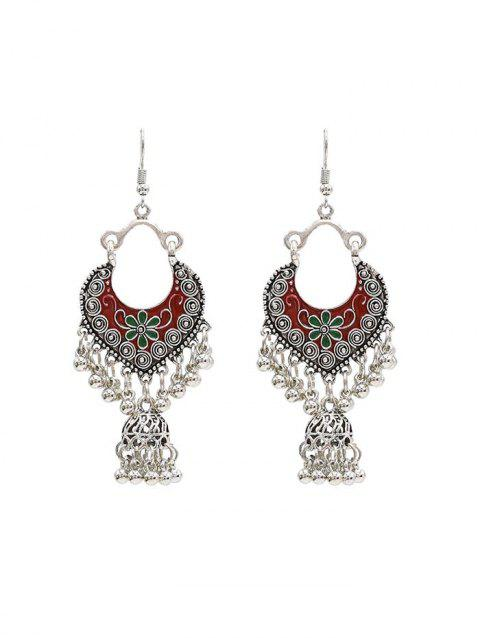 Vintage Engraved Floral Fringed Beads Drop Earrings - SILVER