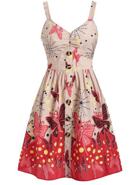 Buttoned Butterfly Print Polka Dot Fit and Flare Dress - APRICOT L