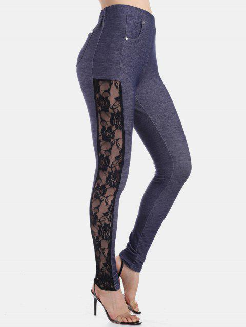 High Rise Lace Panel Skinny Pants - CADETBLUE 2XL