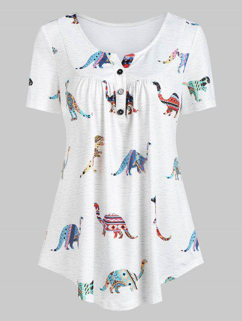 Dinosaur Print Curved Half Button Tunic Blouse - WHITE M
