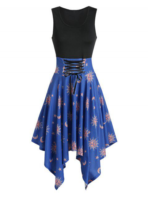 Asymmetric Moon and Sun Lace-up Handkerchief Dress - DARK SLATE BLUE M