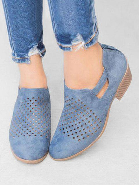 Hollow Out PU Leather Ankle Boots - BLUE US 10.5 (LABEL SIZE 43)