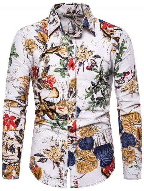 Flower Leaf Pattern Long Sleeves Shirt - NATURAL WHITE 2XL