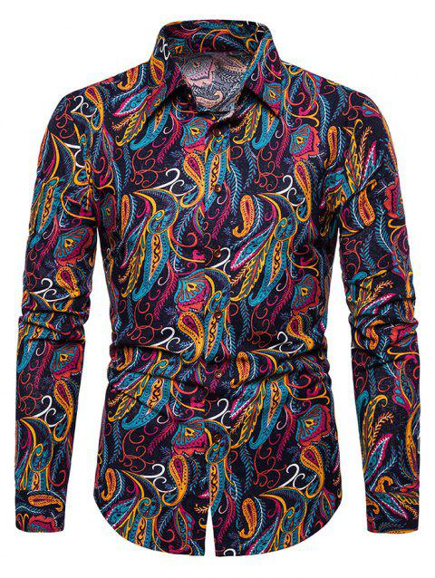 Paisley Print Decoration Long Sleeves Shirt - DEEP BLUE 2XL