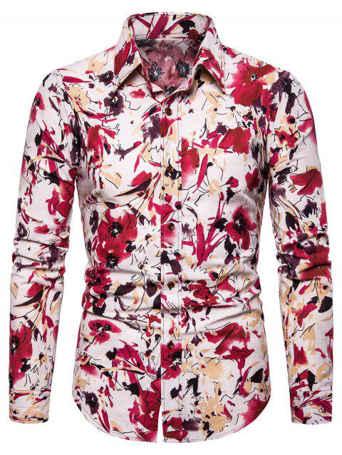 Floral Printed Casual Full Sleeves Shirt - RUBY RED 2XL