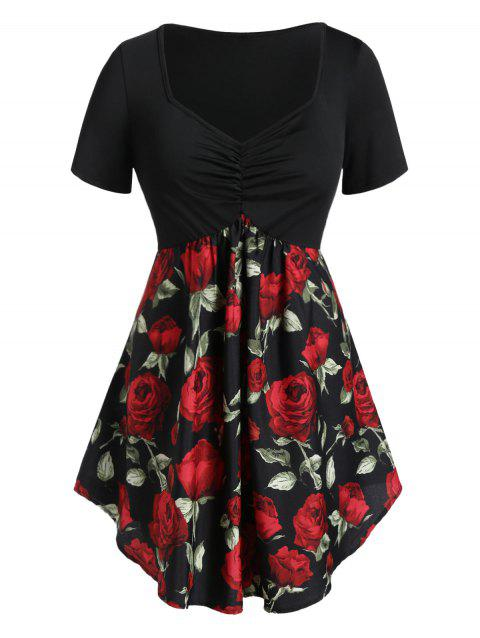 Plus Size Cinched Rose Print Tunic T Shirt - BLACK 1X