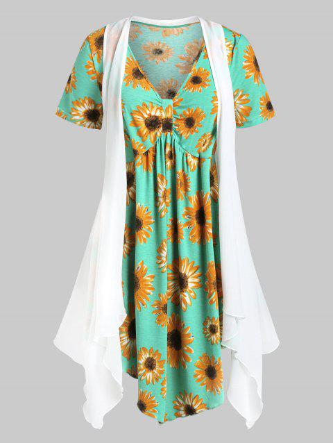 Plus Size Flower Tunic T-shirt and Open Cardigan Set - WHITE L