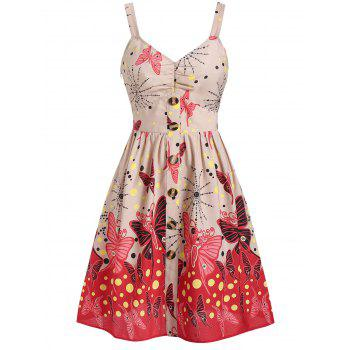 buttoned butterfly print polka dot fit and flare dress