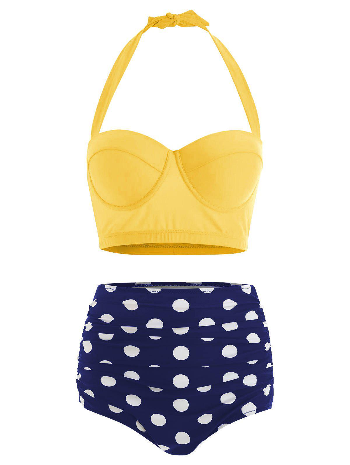 Plus Size Halter High Waist Polka Dot Bikini - YELLOW 2XL
