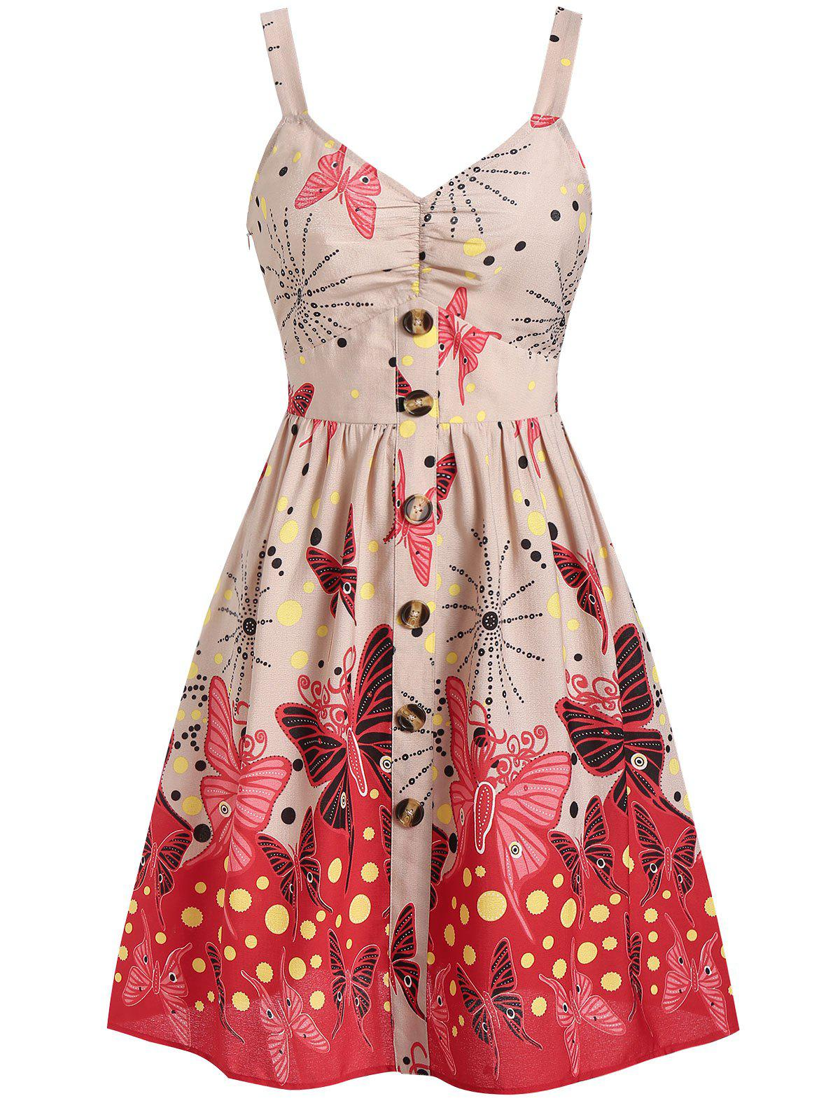 Buttoned Butterfly Print Polka Dot Fit and Flare Dress - APRICOT M