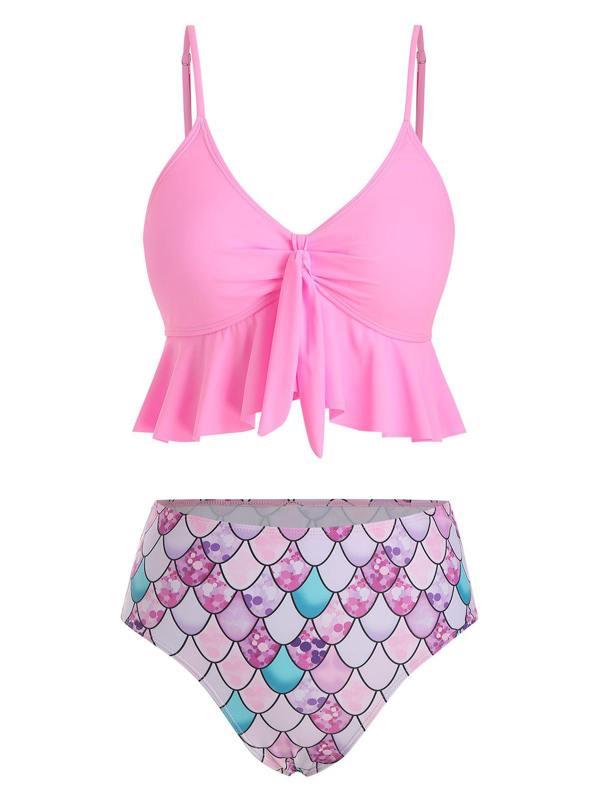 Flounce Knot Scale Print Mermaid Tankini Swimsuit - PINK M