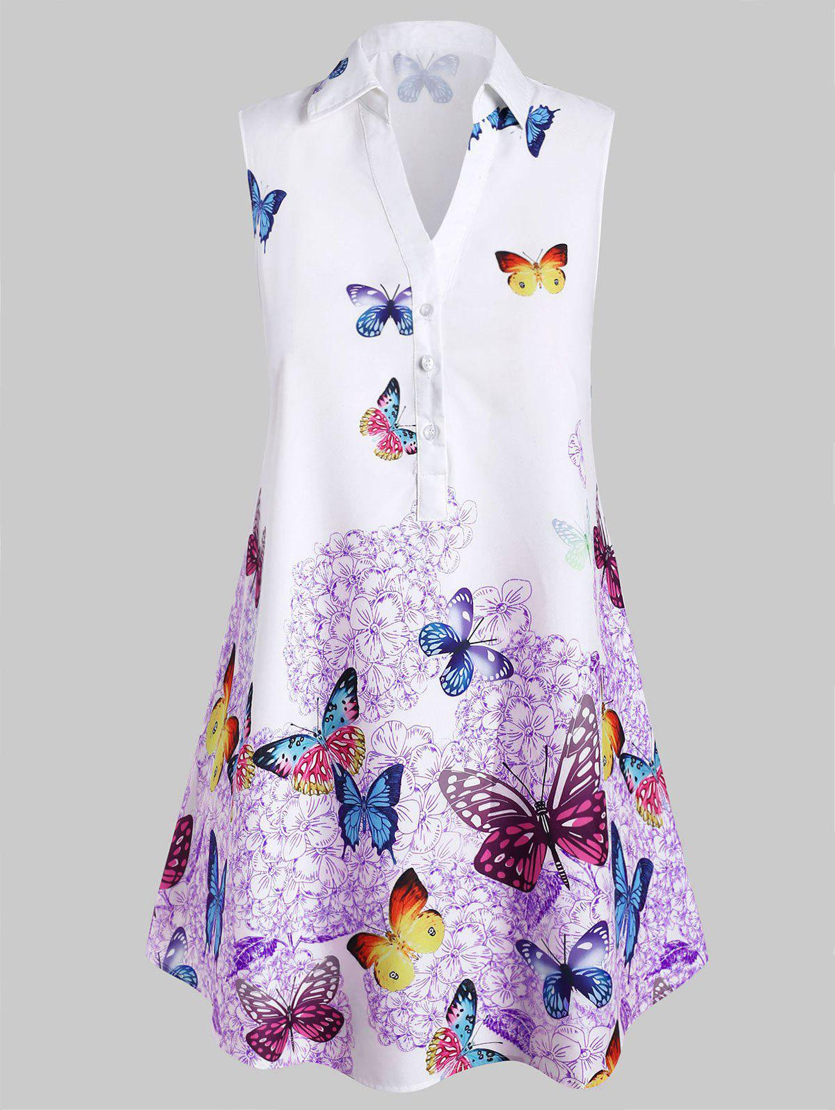 Plus Size Sleeveless Butterfly Print Blouse - PURPLE 2X