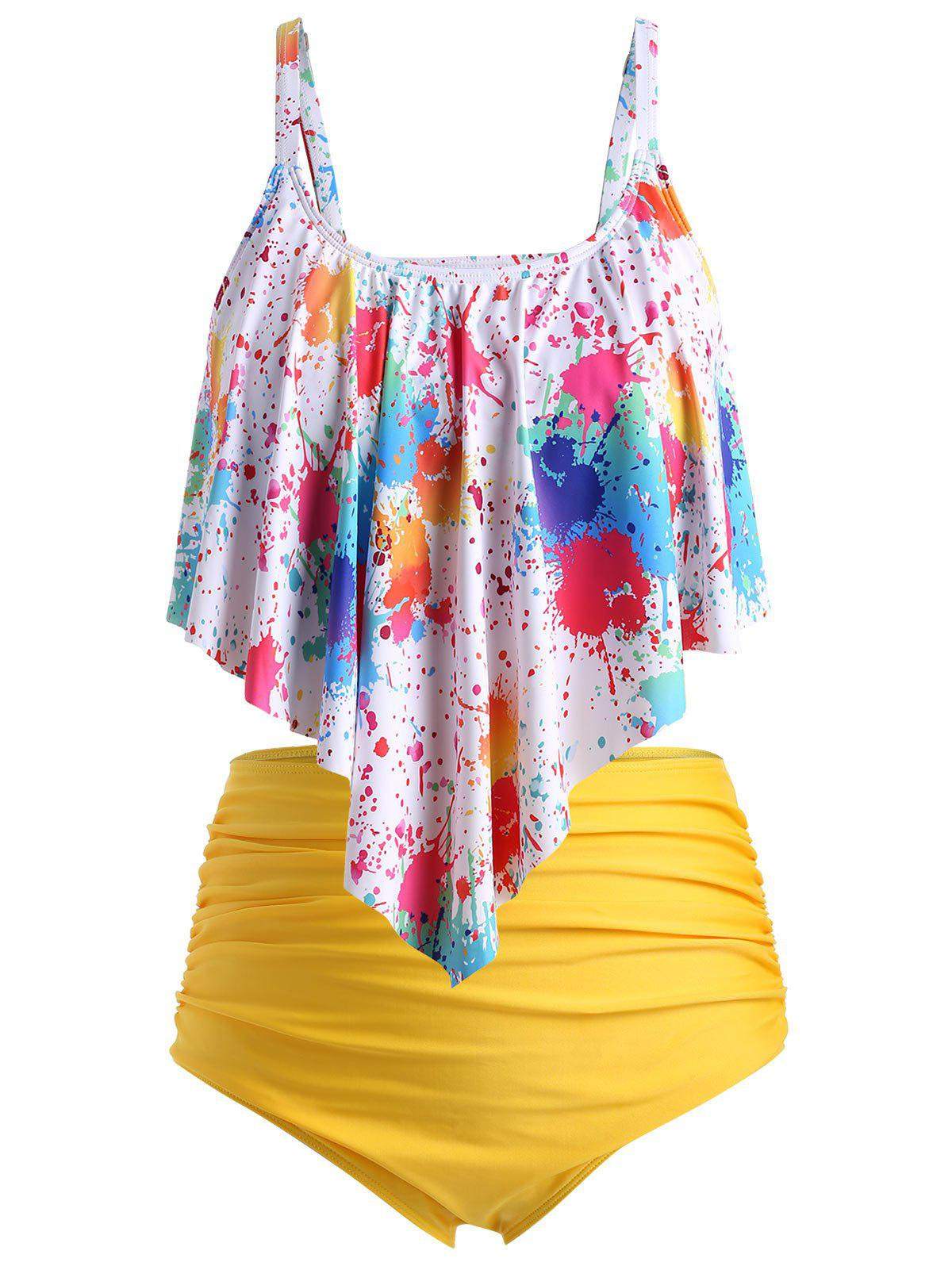 Plus Size Splatter Paint Overlay Ruched Tankini Swimsuit - multicolor A 4X