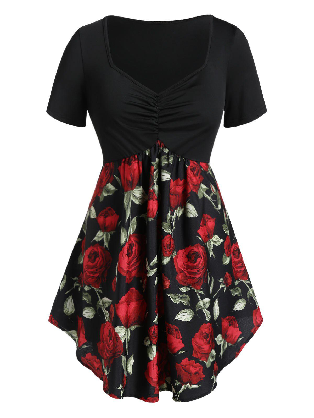 Plus Size Cinched Rose Print Tunic T Shirt - BLACK L