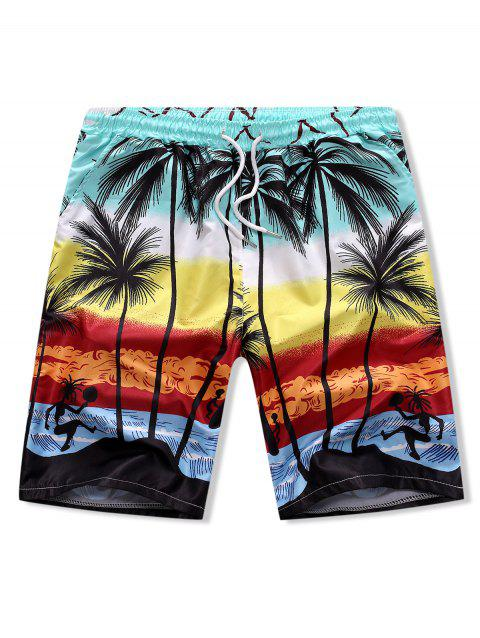 Palm Tree Drawstring Board Shorts - multicolor L