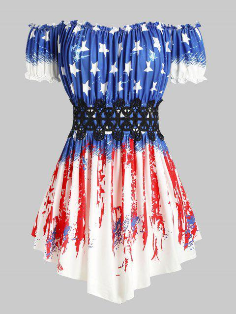 American Flag Off Shoulder Lace Panel Plus Size Top - WHITE 5X