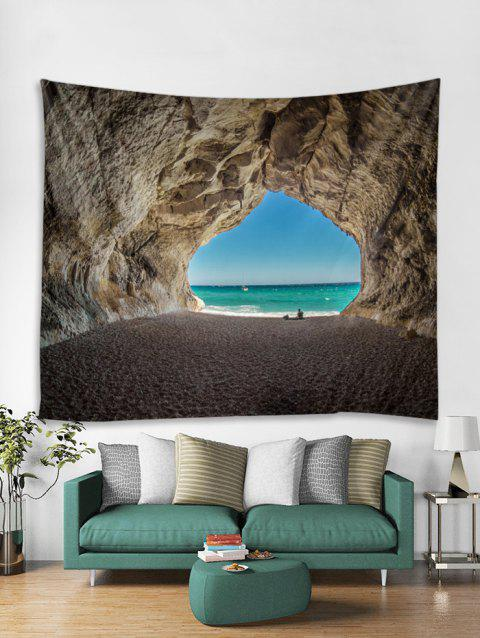 Tapisserie de modèle 3D Sea Beach Tunnel - multicolor A W71 X L71 INCH