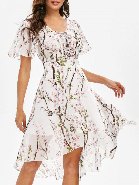 Flower Print High Low Lace-up Dress - WHITE S
