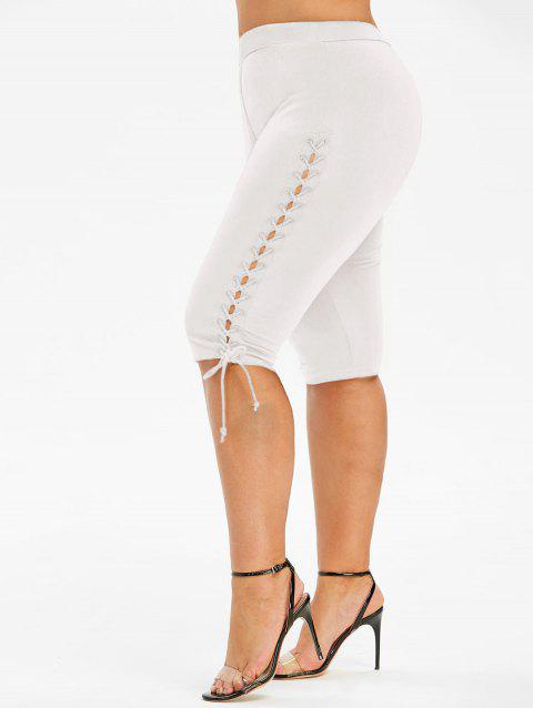 Lace Up Knee Length Plus Size Leggings - WHITE 2X