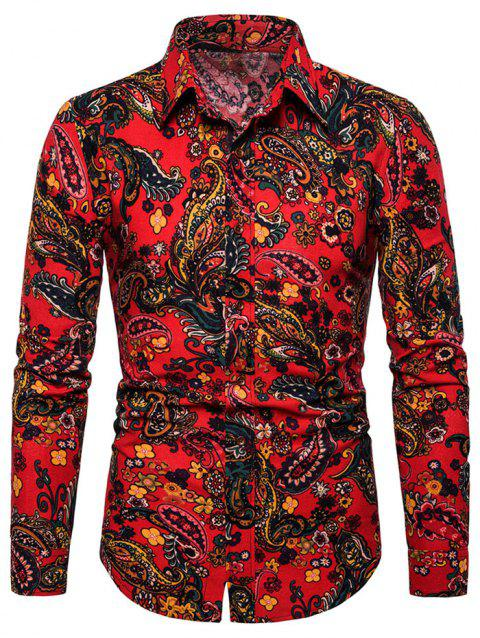 Paisley Printed Long Sleeves Shirt - RED 2XL