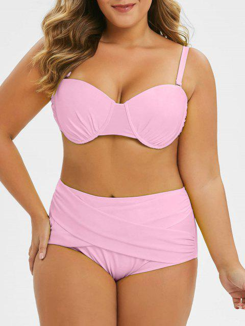 Plus Size Criss Cross Cut Out Neon Bikini Set - PIG PINK 1X