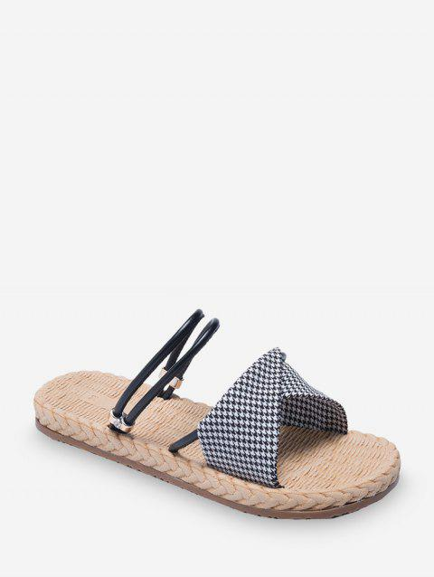 Houndtooth Print Ankle Strap Flat Sandals - BLACK EU 38