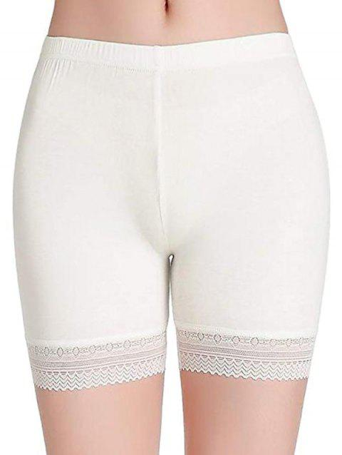 Lace Panel Fitted Slip Shorts - WHITE 2XL