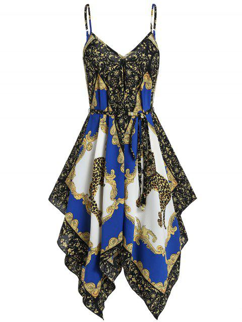Leopard Scarf Print Asymmetrical Handkerchief Cami Dress - COBALT BLUE 2XL