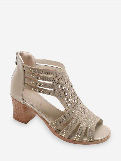 Hollow Out Peep Toe High Wedges Sandals - 124961 BROWN US 8	EU 39