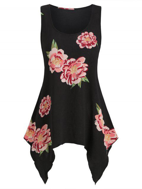 Flower Pattern Asymmetrical Casual Tank Top - BLACK 2XL