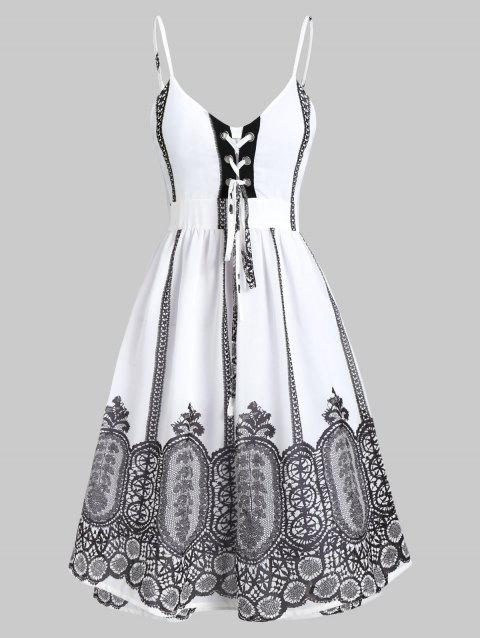 Lace-up Printed Open Back Cami A Line Dress - WHITE 2XL