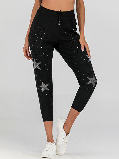Rhinestone High Waisted Knitted Drawstring Jogger Pants - BLACK M