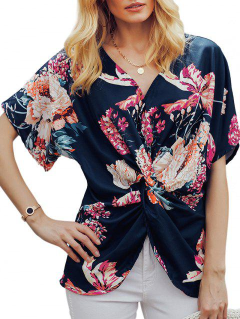 Flower Twisted Batwing Sleeve Blouse - multicolor D 2XL