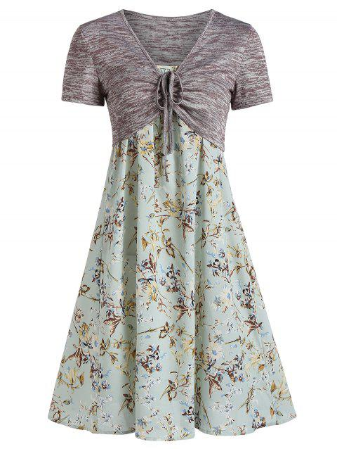 Floral Print Spaghetti Strap Dress with Cinched Top - PALE BLUE LILY 2XL
