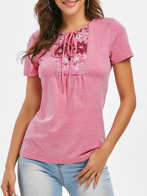 Flower Print Lace-up Space Dye Tee - PINK 3XL