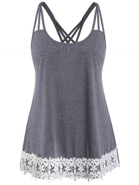 Plus Size Scoop Collar Cami Two Tone Tank Top - CARBON GRAY 5X