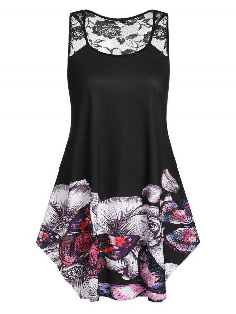 Plus Size Floral Butterfly Print Flare Tank Top - BLACK L