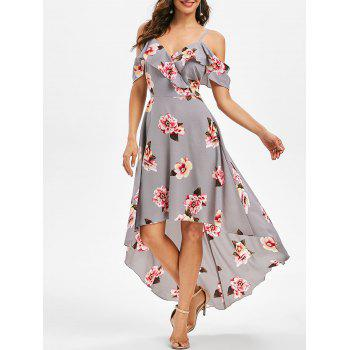 Cold Shoulder High Low Maxi Floral Dress