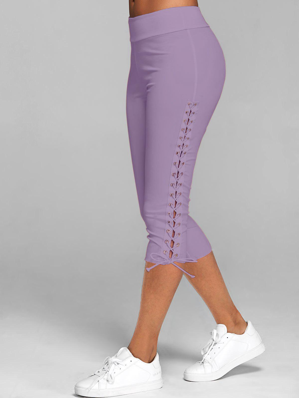 Lace Up Skinny Crop Leggings - LILAC M