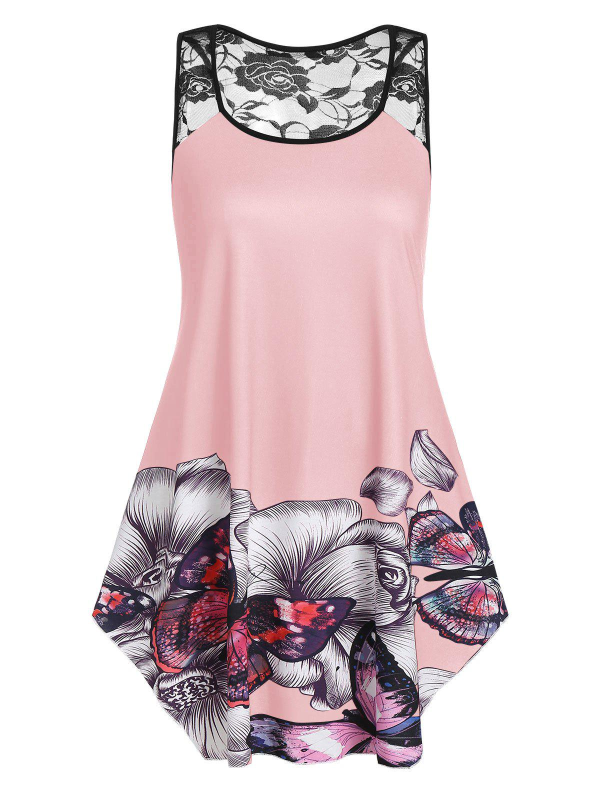 Plus Size Floral Butterfly Print Flare Tank Top - PIG PINK 2X