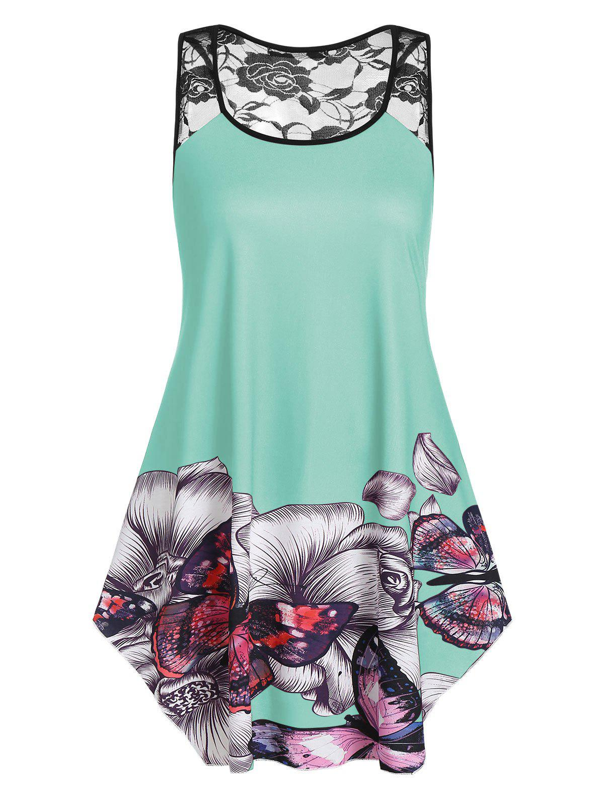 Plus Size Floral Butterfly Print Flare Tank Top - LIGHT SLATE 3X