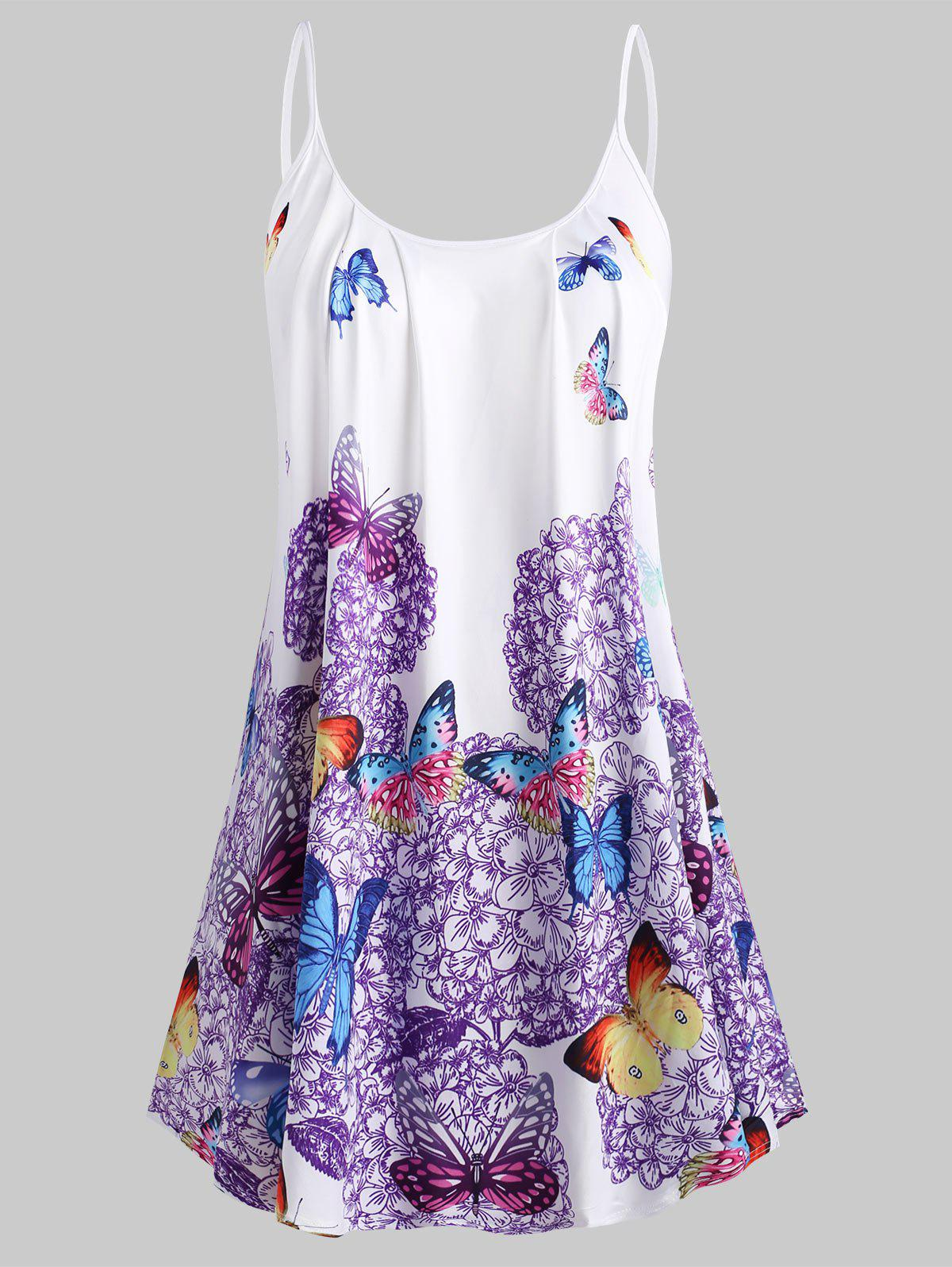 Plus Size Butterfly Print Cami Top - DARK VIOLET L