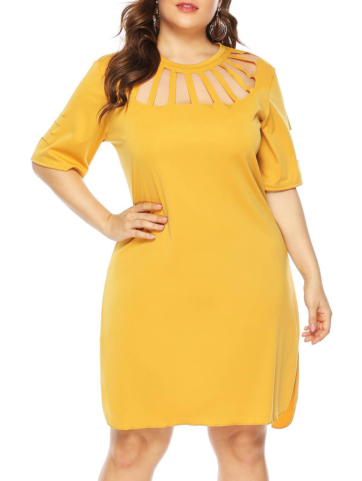 Cutout Short Sleeve Casual Plus Size Dress - RUBBER DUCKY YELLOW L