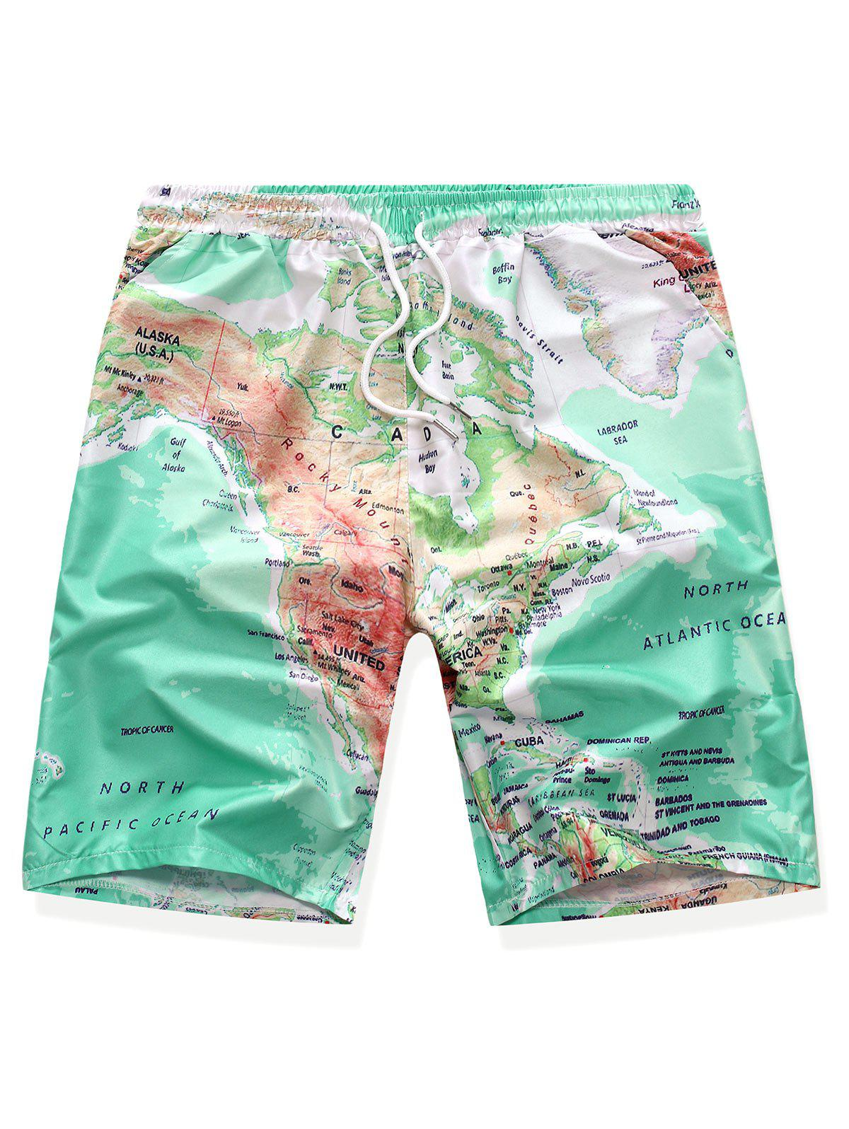 World Map Print Drawstring Board Shorts - ALGAE GREEN L