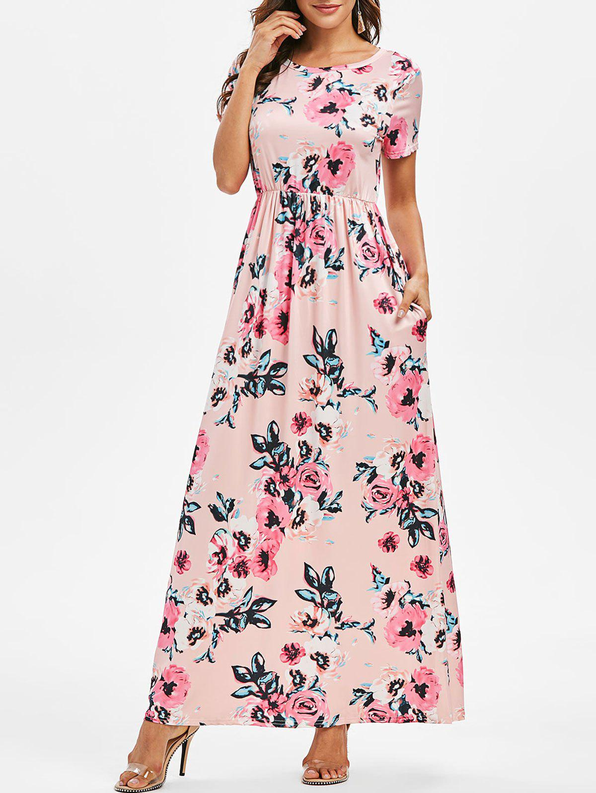 Flower Print Floor Length Casual Dress - PINK XL